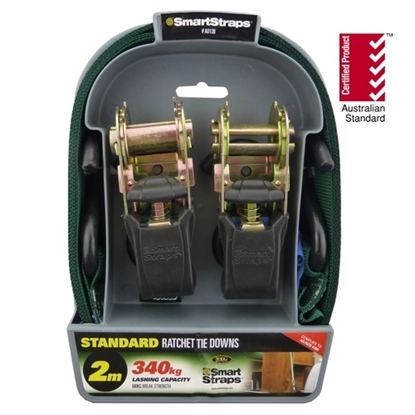 Picture of 138 Standard Ratchet Tie Down Green 2m 2pk