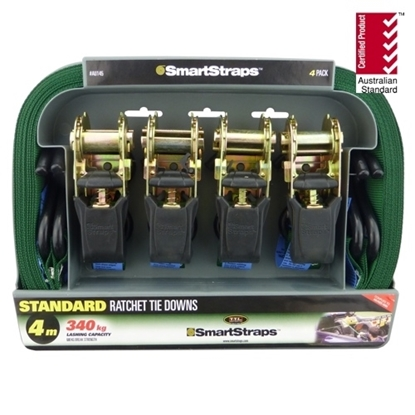 Picture of 145 Standard Ratchet Tie Down Green 4m 4pk