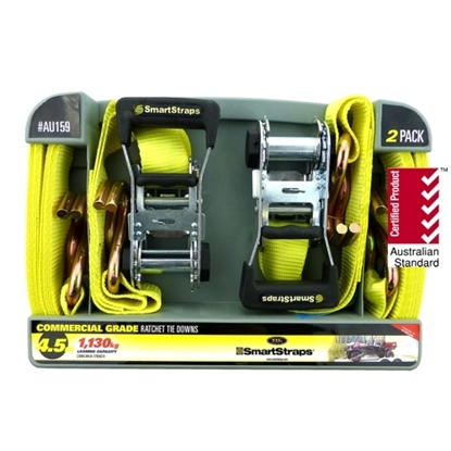 Picture of 159 Ratchet X Tie Down Yellow 4.5m 2pk