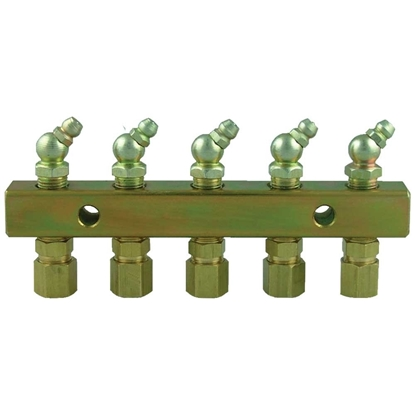 Picture of Grease Nipple Header Block - 4 point With Fittings